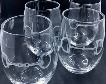 Stemless Wine Glasses, Equestrian Themed Glasses, Equestrian Gift, Horse Wine Glasses, Set of 4 Wine Glasses, Horse Gift, Horse Lover