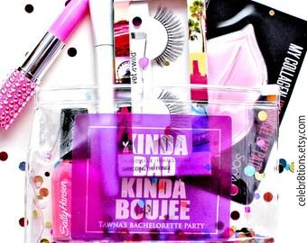 Hangover Kit, Bachelorette Party, Survival Kit, Glitter Makeup bag, Favor, Custom, Custom Gift Packaging, Favor Bag, Cosmetic bag
