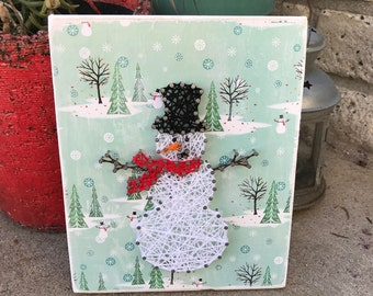 Snowman String Art Sign - Christmas Decorations - Snowman Decor - String Art - Snowman Wood Sign - Christmas Sign - Snowman - Holdiay Decor