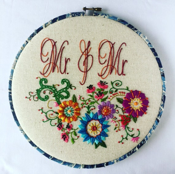 Mr. & Mr. Love Wins Hand Embroidered Hoop Art, LGBT, Love, Whimsical, Hand Embroidered