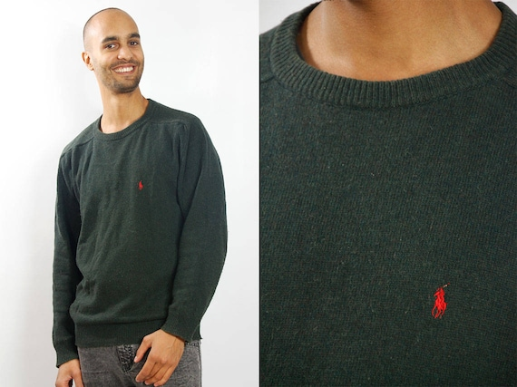 RALPH LAUREN Sweater / Ralph Lauren Sweatshirt / Ralph Lauren Jumper / Polo Jumper / Ralph Lauren Vintage / Green Wool Sweater / Wool Jumper