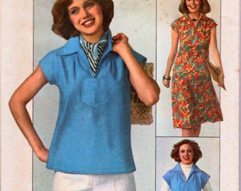 Vintage 70's Top and Skirt Sewing Pattern Simplicity 7963 Misses'   Size 14 Bust 36 Complete Uncut