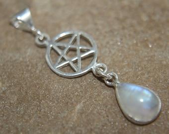 Gemstone Pentagram Pendant 925 Sterling Silver Pagan Wicca Pentacle Pendant choice Moonstone Amethyst Onyx Garnet Blue Chalcedony Rose Quart