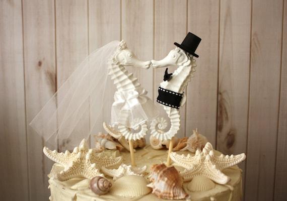 Seahorse Wedding Cake Topper-Kissing Seahorse Couple-Beach
