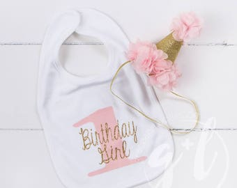 First Birthday Bib & Party Hat, Pink and gold Princess Hat, First Birthday Set