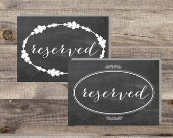 Instant Download -RESERVED Printable Signs - DIY, Wedding reception, Ceremony Reserved Seat Signs