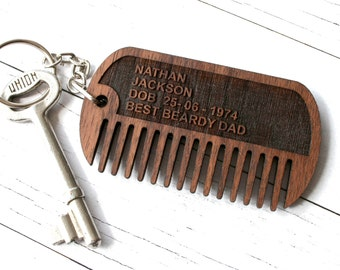 Dog tag beard comb - Father's Day Beard Gift - gift for hipster men - Beard grooming - dog tag Keychain - gift for men - hipster Grooming