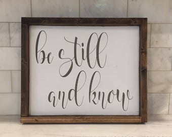 "Framed Be Still and Know Wood Sign 12.5"" x 15.25"" 