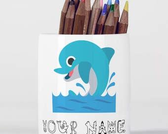 Personalised Dolphin Cute Animal Zoo Sea Children Customizable Pencil Pot, Pencil Holder, Pen Pot, Pen Holder, Children Gift, PPC025