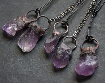 Raw Amethyst Pendant Necklace | Gemstone Necklace | Purple Crystal Necklace | Raw Stone