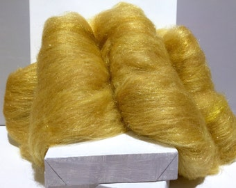 "Gold wool fiber art batt, gold Firestar, needle wet felting wool, spinning fiber, ""Rumpelstiltskin"", gold roving wool, gold angelina fiber"