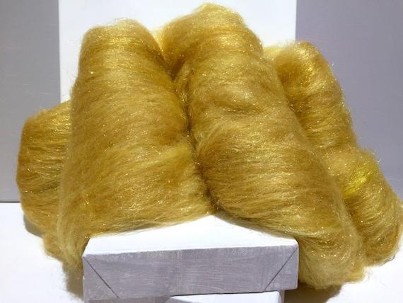 """Gold wool fiber art batt, felting wool, spinning fiber, """"Rumpelstiltskin"""", gold roving wool, gold angelina fiber"""