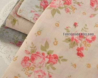 Pink Rose Cotton Fabric, Thin Cotton Pink Flower in White Grey Pink Cotton- 1/2 yard