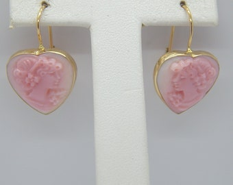 14K Yellow Gold PINK CONCH CAMEO signed m+m earrings 3.6gm italy