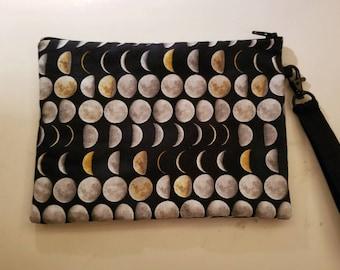 Moon Phase Zipper Pouch Handbag Wristlet