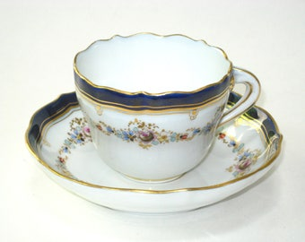 Meissen Porcelain Scalloped Cobalt and Gilt Demitasse Cup Saucer Set- Signed Hand Painted Flowers