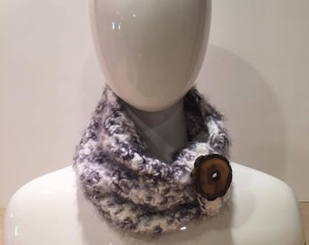 Angel Hair Crochet Cowl with Wooden Button in black and white
