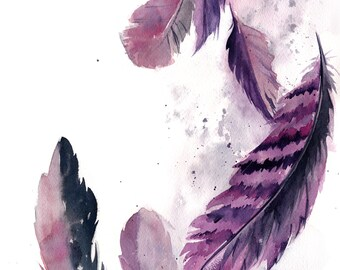 Purple Feathers Original Watercolor Painting, Modern Watercolor Illustration Art, Feathers Wall Art Painting, Abstract Feathers Art