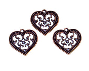 LOT 3 vintage stamp wedding love heart pendant charm bronze 25mm