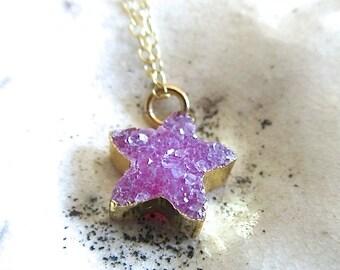 Pink Druzy Star Pendant