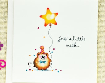 Birthday Card, Cute Birthday Card, Cute Birthday Note Card, Birthday wishes, Cute Mouse, Whimsical, Mouse, balloon, star, wish