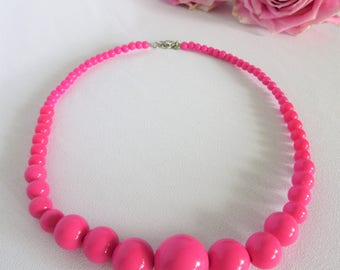 Vintage Pink Bead Necklace, Pink Necklace, Beaded Necklace, Vintage Necklace, Pink, Jewelry, Valentine Gift, Vintage, Beads
