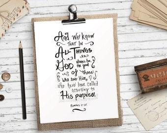 Bible verse printable art, Romans 8 28, Hand lettered bible verse art print, Black and white scripture print Christian HEART OF LIFE Design
