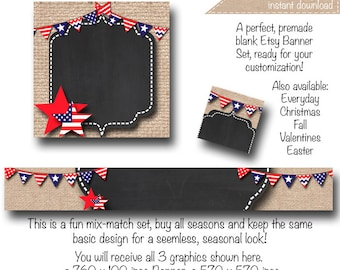 DIY Blank Etsy Banner Set - Burlap Patriotic USA - Customize for your Store