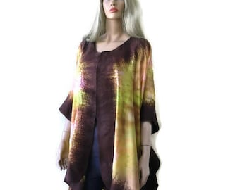 Brown and golden sunrise  Nuno Felt and silk Poncho ,Kimono,ruana ,wrap- Amazing opera top in my beloved Kimono style-Only one available