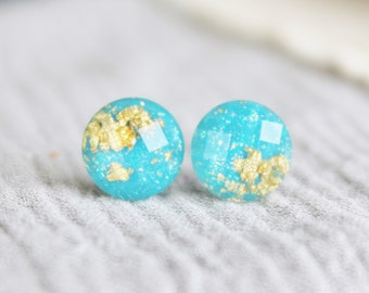 Sparkling Turquoise and Gold Earrings / Hypoallergenic Earrings /  Stainless Steel / Goldflake Jewelry / Turquoise Studs