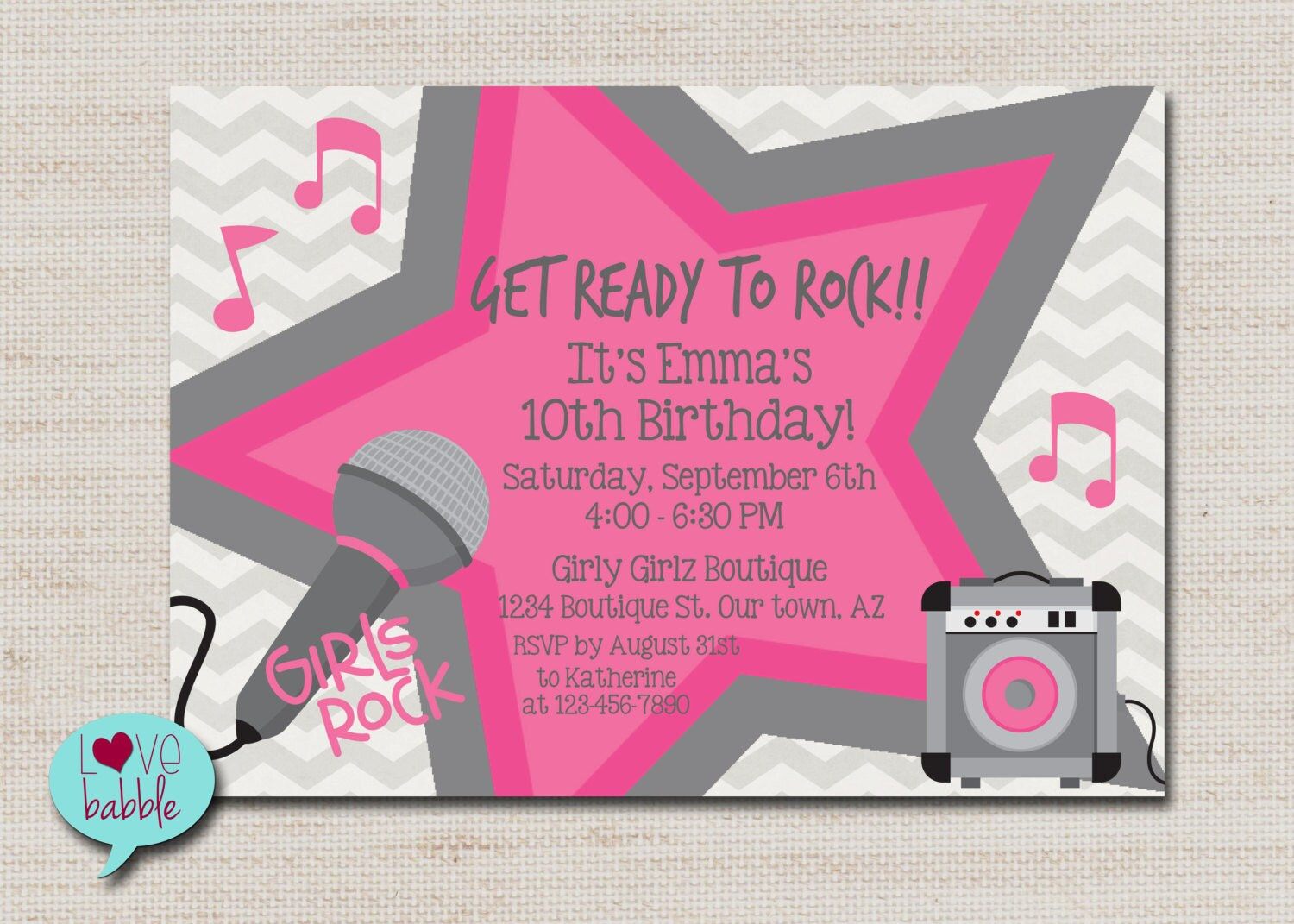 Rock star party karaoke party super star party invitation