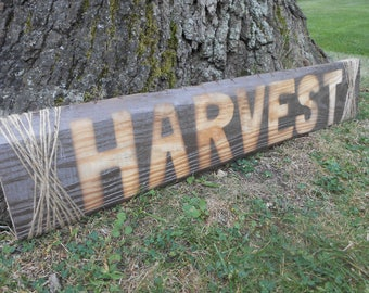 "Rustic ""Harvest"" Sign on Reclaimed Pallet Wood"