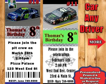 Nascar invitations etsy nascar birthday invitations 10 each with envelopes personalized custom made any car any driver filmwisefo Choice Image