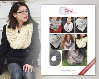 Cowl Crochet Patterns - 8 Pattern E-Book by Little Monkeys Crochet     cowl crochet pdf patterns, instant download pdfs, crochet cowl pdf