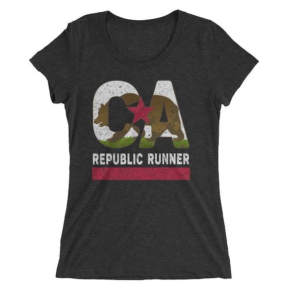 Women's California Republic Runner TriBlend T-Shirt - Run California - Women's Short Sleeve Running Shirt