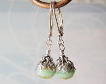 Mint Green Earrings Sterling Silver Leverback Ear Wires