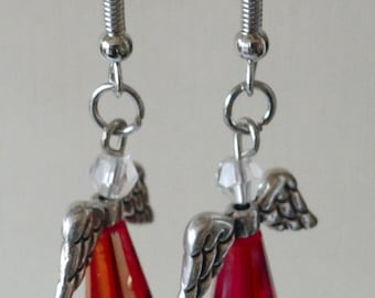 Fancy earrings Ange new sleepers red glass beads