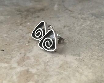 Handmade sterling silver earrings, spiral swirl post earrings
