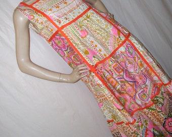 Glen of Michigan Dress Vintage 60s Pink Orange Yellow Mod Floral Patchwork Caftan Bill Atkinson Cruise Maxi Long Hostess Dress Adult M L