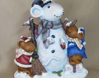 Merry Chris-Mouse snow mouse with 2 mice kids and broom