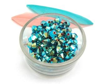 Set of 10 beads Jet AB2X Swarovski Crystal bicones - 6 mm