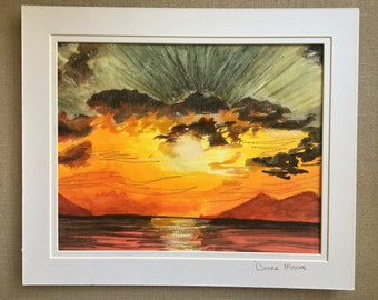 Sunset picture - painted and stitched