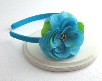 CLEARANCE ~ Girls Turquoise Rhinestone Flower Headband ~ Toddlers, Girls, Adults