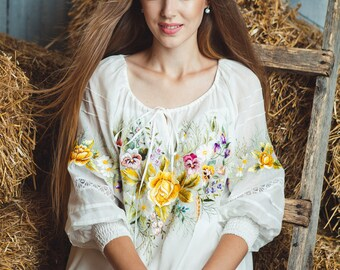 "Hand embroidered dress ""Summer romantic' ukrainian hand embroidery"