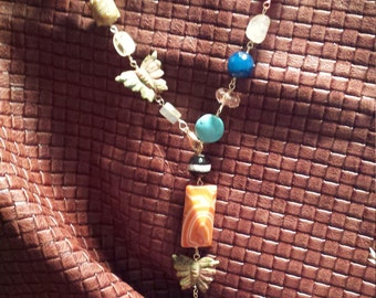 One strand assorted stone adjustable necklace