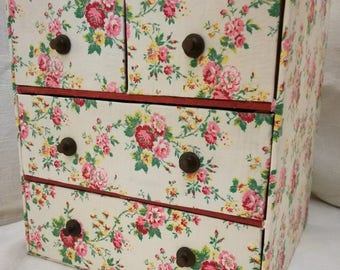 Antique French fabric box cabinet chest of drawers for haberdashery / notions