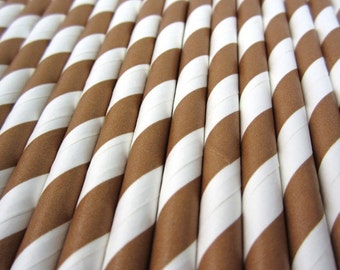 Brown and White Diagonal Stripe Paper Drinking Straws - Party Decor Supplies Tableware