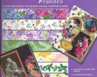 "PAPER scrapbooking watercolor florals hot off the press Paper Pizzaz 16 - 8 1/2"" x 11"" pullout pages acid lignin free"