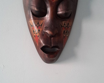 Old African tribal ART DECO vintage wood sculpted statue