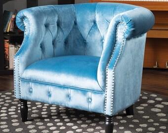 Old Hollywood Style Blue Velvet Chair, Velvet Furniture, Hollywood Regency, Pastel Blue Chair, Studded Chair, Throne Chair, Art Deco